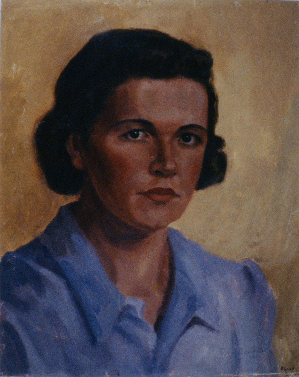 "Self Portrait, 1947, Olive Candido, oil on canvas, 20"" x 24"", 1994.17.01"