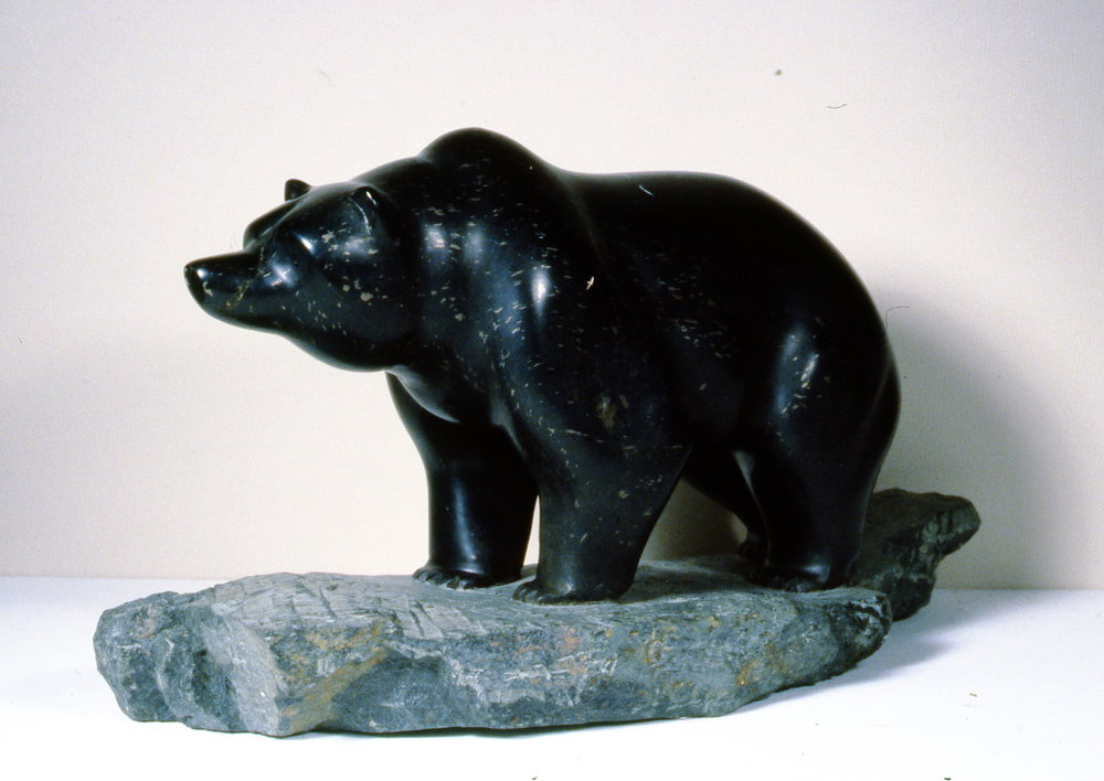 Grizzly Bear , n.d., William Cameron, soapstone, 22.5 x 40cm, 1995.01.03. Gift of the Okanagan Mainline Regional Arts Council.