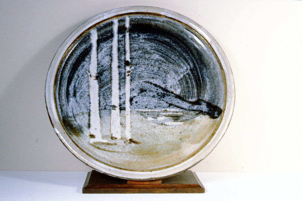 Landscape Plate , n.d., Frances Hatfield, ceramic, 33 1/2 cm diametre, 1995.01.06. Gift of the Okanagan Mainline Regional Arts Council.