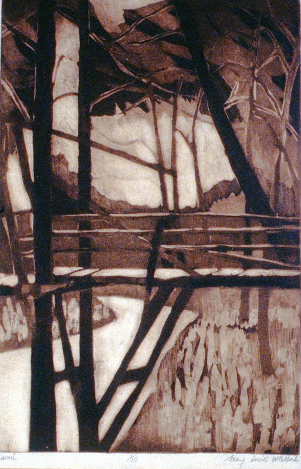 Carmi, n.d., Mary McCulloch, etching & aquatint, 48 x 31.5cm, 1995.01.07. Gift of the Okanagan Mainline Regional Arts Council.