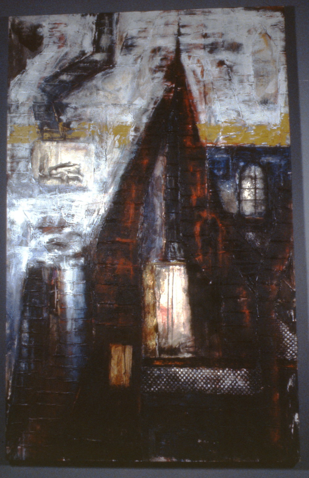 Chimney Symphony,  c. 1991,    Robin Costain, acrylic and collage on canvas, 1996.05.01