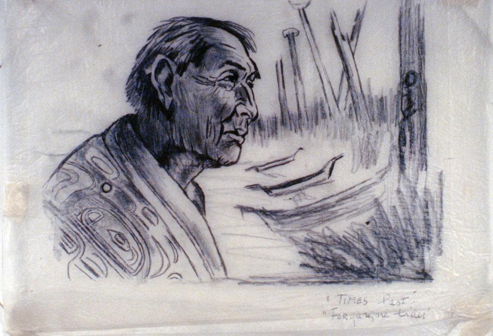 Times Past, 1978, Minn Sjløseth, sketch, 23.5 x 32cm, 1996.02.01