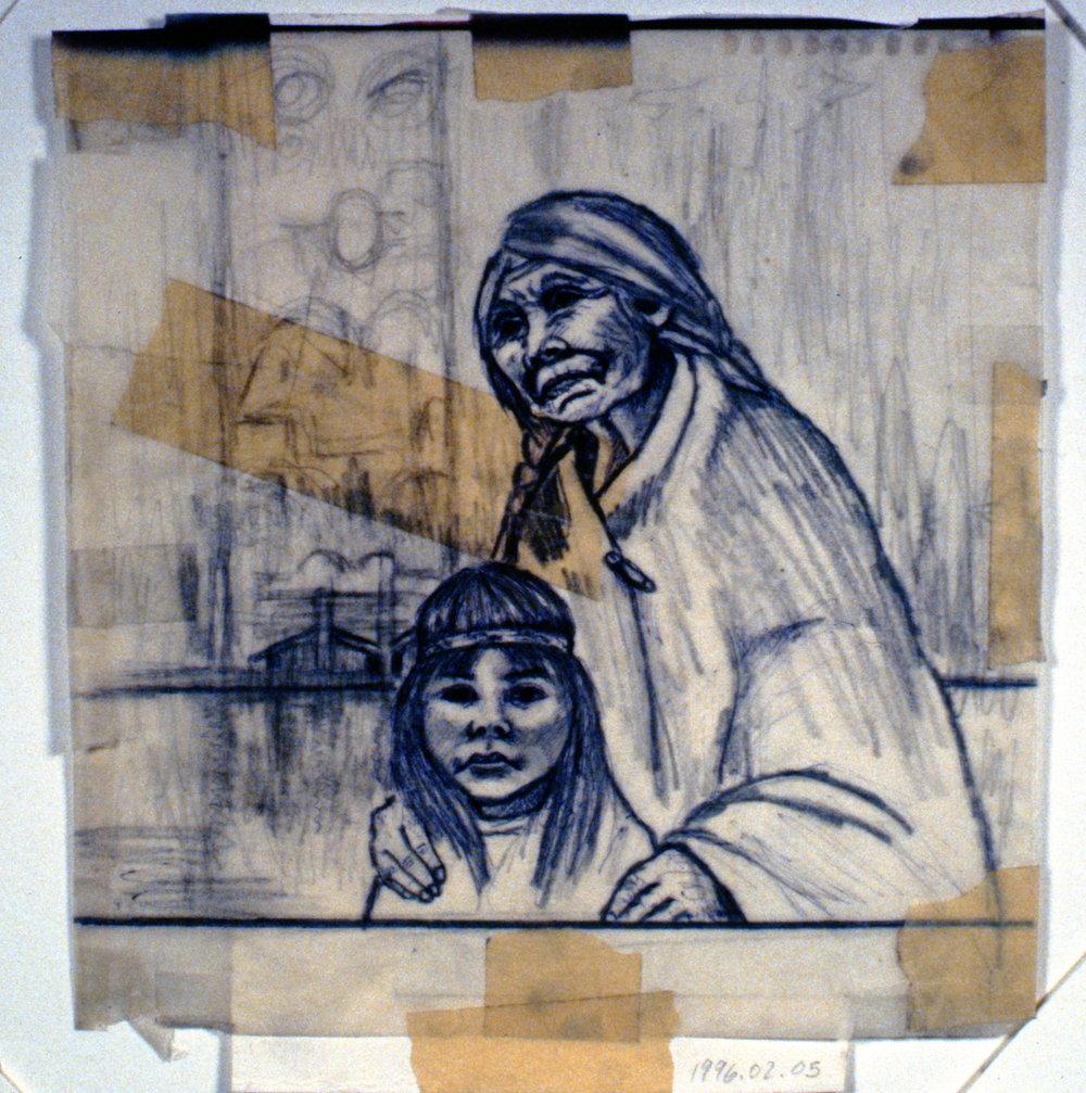 Ages Past (Grandmother), n.d., Minn Sjløseth, sketch, 21 x 23cm, 1996.02.05