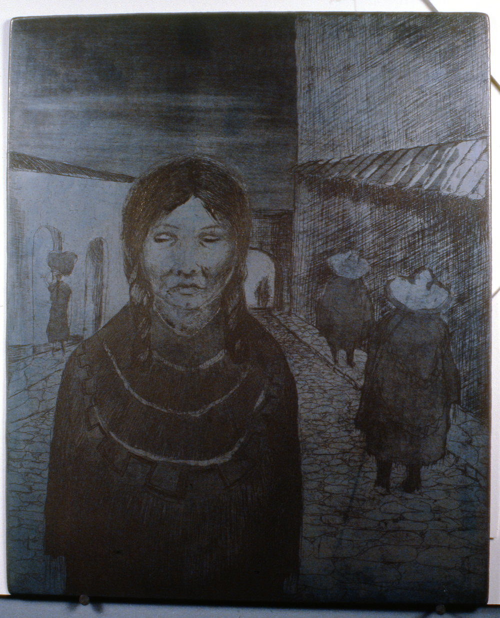 Evening in Mexico, 1978, Minn Sjløseth, metal plate, 30.5 x 25cm, 1996.02.06