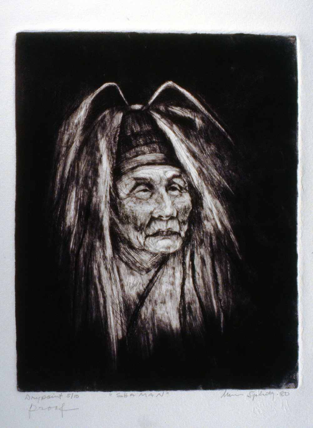 Shaman, 1980, Minn Sjløseth, artist proof marked 5/10, 25 x 20 cm, 1996.02.12