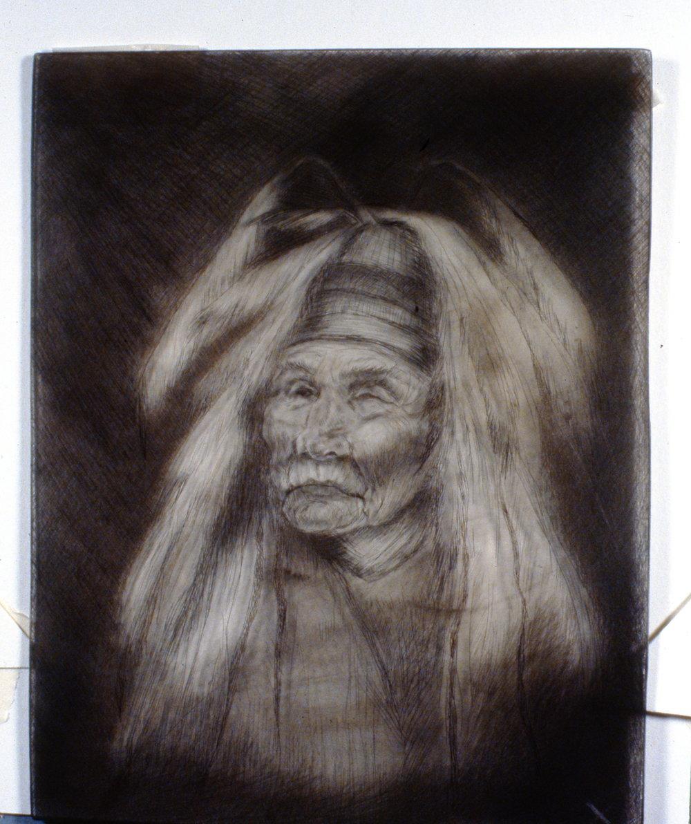 Shaman, 1980, Minn Sjløseth, retired plate (plastic), 25 x 20 cm, 1996.02.14