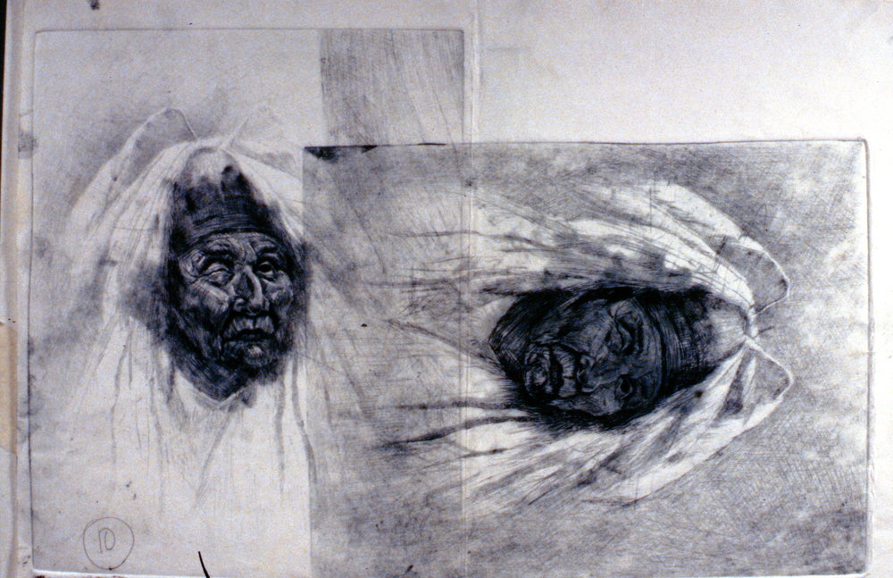 Shaman, 1980, Minn Sjløseth, artist proof with two images, 20 x 25cm, 1996.02.13
