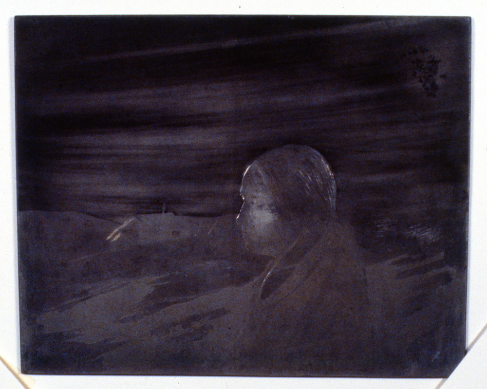 Teresa and Her Home, 1978, Minn Sjløseth, metal plate, 17.5 x 22 cm, 1996.02.16