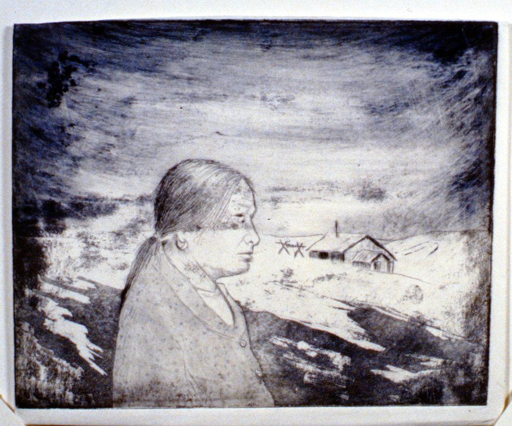 Teresa and Her Home, 1978, Minn Sjløseth, artist proof, 17.5 x 22 cm, 1996.02.17