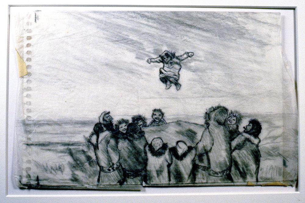 Blanket Toss, 1986, Minn Sjløseth, sketch, 15 x 25 cm, 1996.02.18