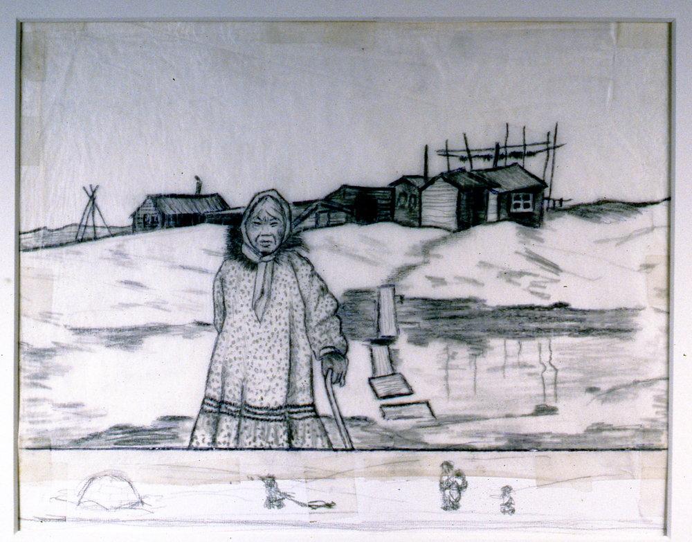Spring Walk, 1986, Minn Sjløseth, sketch, 21.5 x 25.5 cm, 1996.02.23