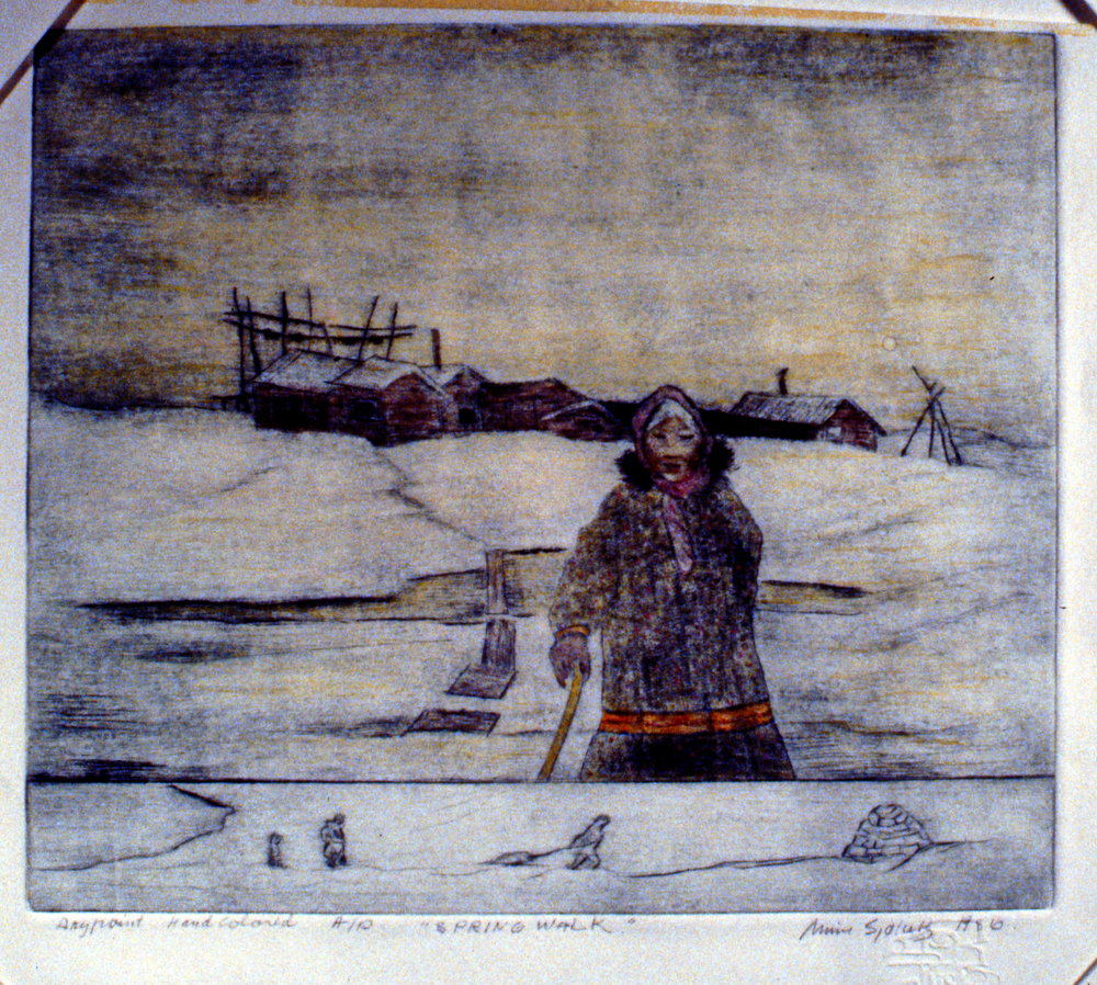 Spring Walk, 1986, Minn Sjløseth, hand-coloured dry point, 21.5 x 25.5 cm, 1996.02.24