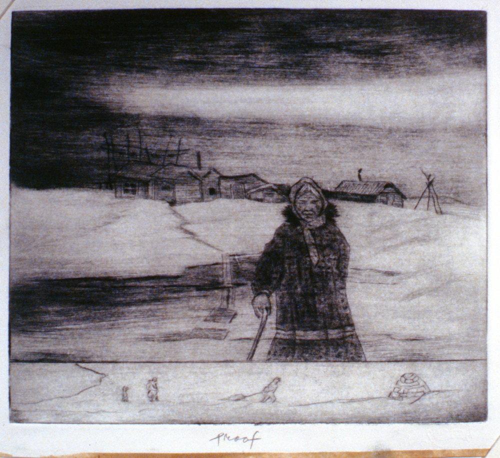 Spring Walk, 1986, Minn Sjløseth, artist proof, 21.5 x 25.5 cm, 1996.02.26