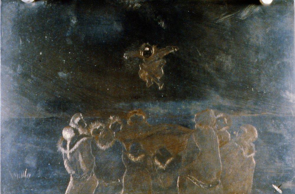Blanket Toss, 1986, Minn Sjløseth, metal plate, 15 x 22.5 cm, 1996.02.20