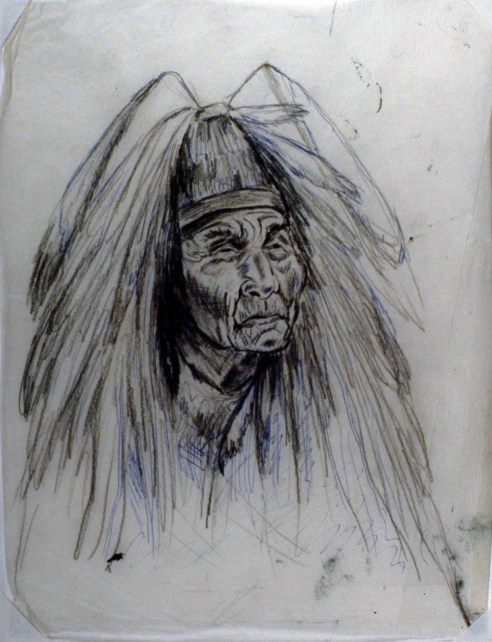 Shaman - August Jack, 1980, Minn Sjløseth, sketch, 25 x 20 cm, 1996.02.07