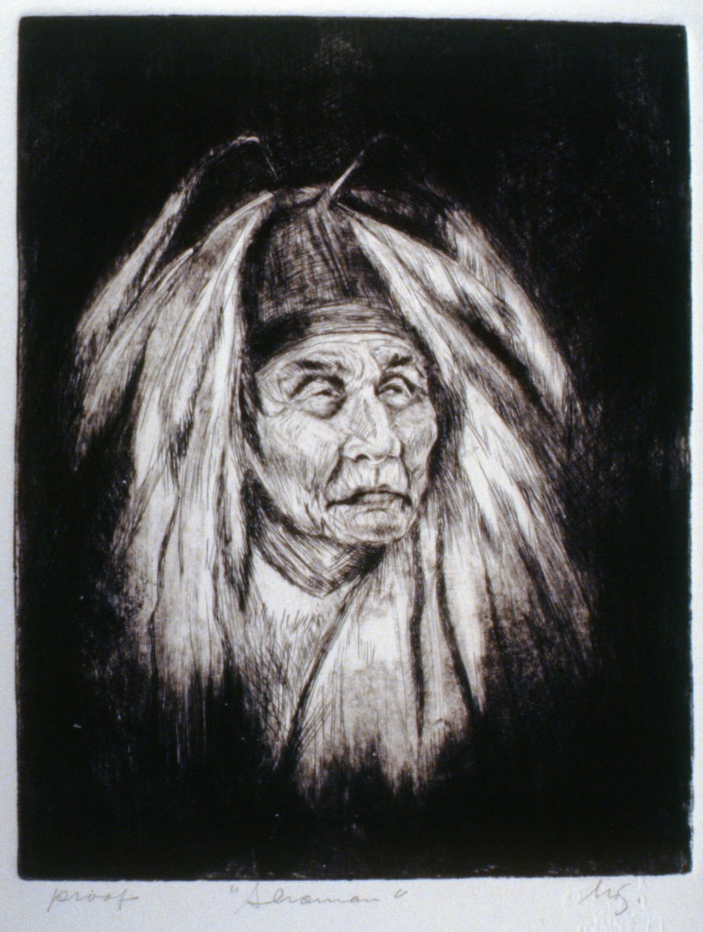 Shaman, 1980, Minn Sjløseth, artist proof, 25 x 20 cm, 1996.02.11