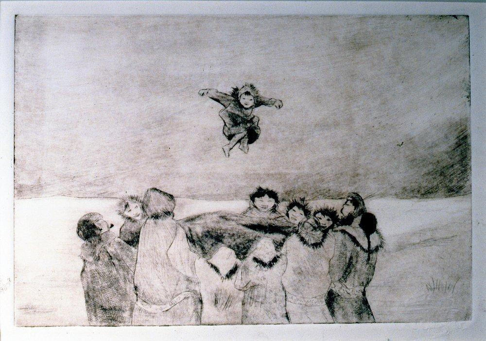Blanket Toss, 1986, Minn Sjløseth, artist proof, 15 x 22.5 cm, 1996.02.19