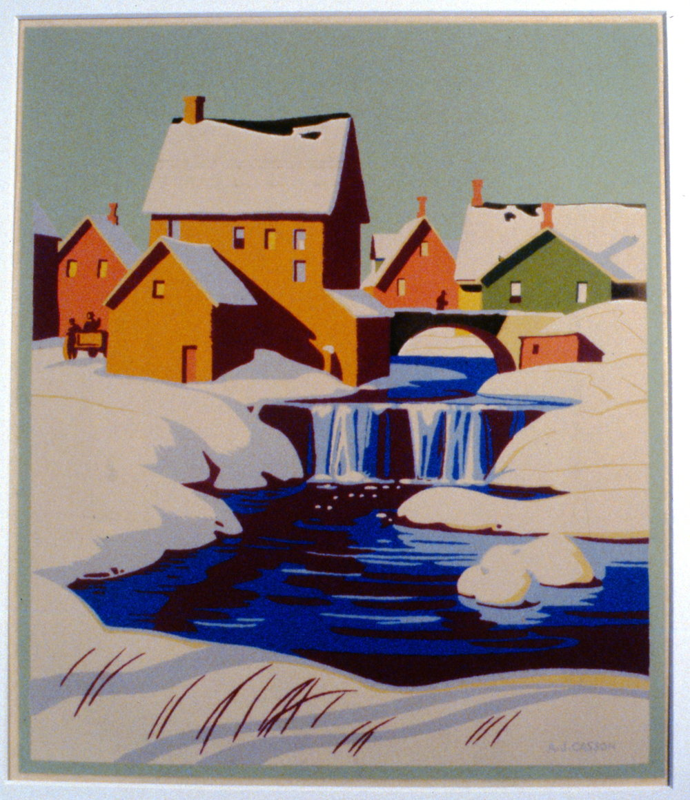 Untitled (Winter Scene in Small Village), c. 1930, A.J. Casson, serigraph, 27 x 22.7 cm, 1997.07.01