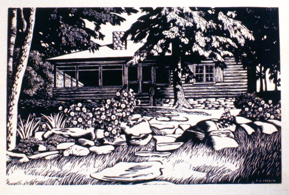 Murray Adakin's Cabin at Canoe Lake,  A.J. Casson, print, 17.5 x 27.2 cm, 1997.07.02