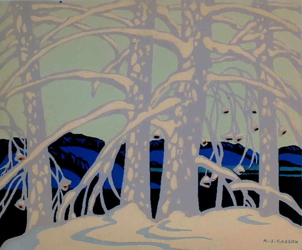 "Untitled, A.J. Casson, serigraph, 4 3/4"" x 5 3/4"", 1984.01.07"