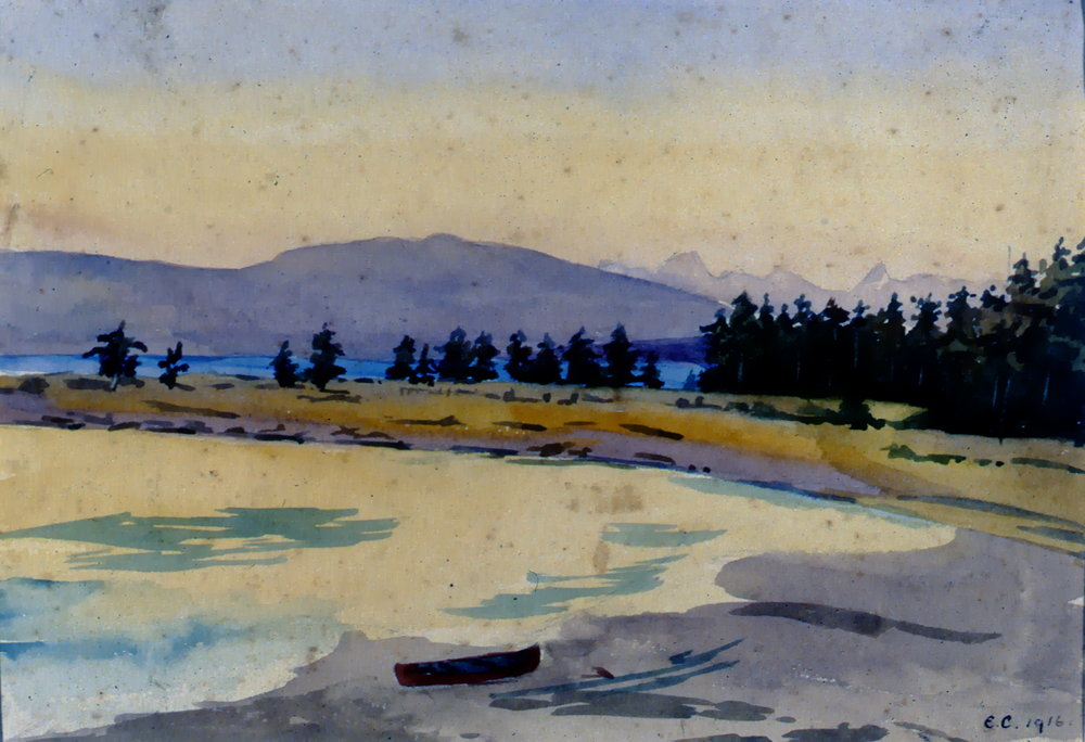 Untitled Landscape (Peachland), 1916, Elsie Crompton, watercolour, 17.5 cm x 25.5 cm, 1998.02.01, gift of M. Cecil Fowler and the Courtenay and District Museum