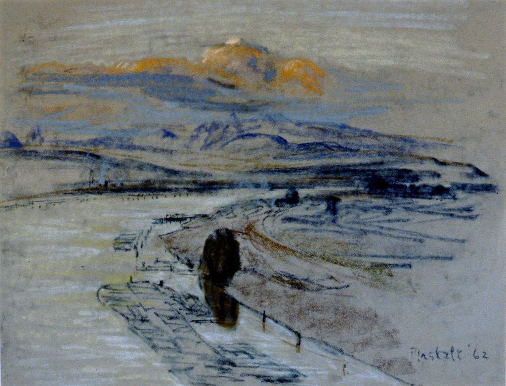 Untitled, 1962, Joseph Plaskett, pastel on grey paper, 50 cm x 65 cm, 1998.03.01, gift of Arthur E. Lock