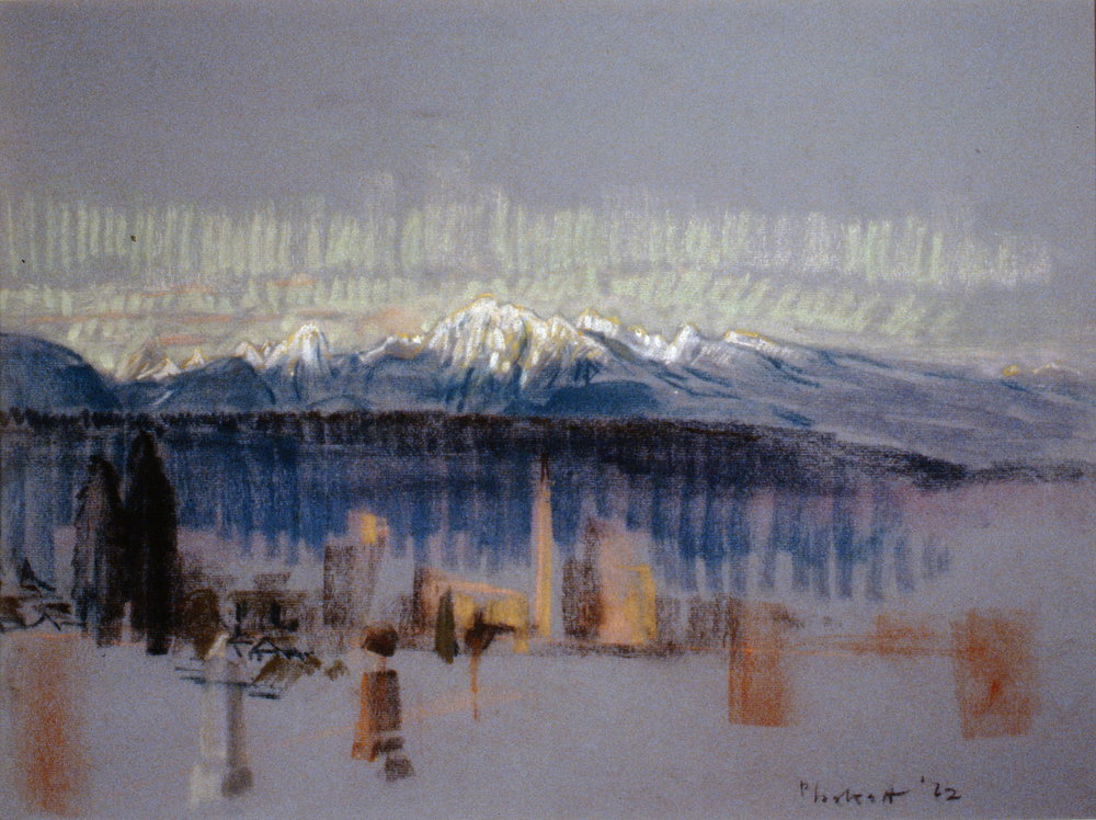 Graveyard with Mountains , 1962, Joseph Plaskett, pastel on paper, 1994.07.01