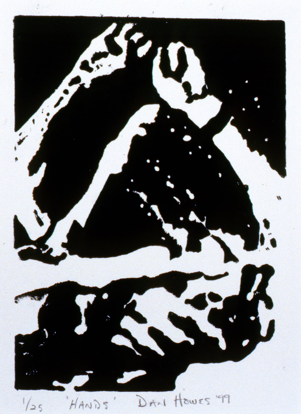Hands , The Spirit of Ironman Linocut Prints, edition 1/25,1999, Dan Howes, linocut print, 17.7 x 12.5 cm, 1999.02.04, gift of the artist