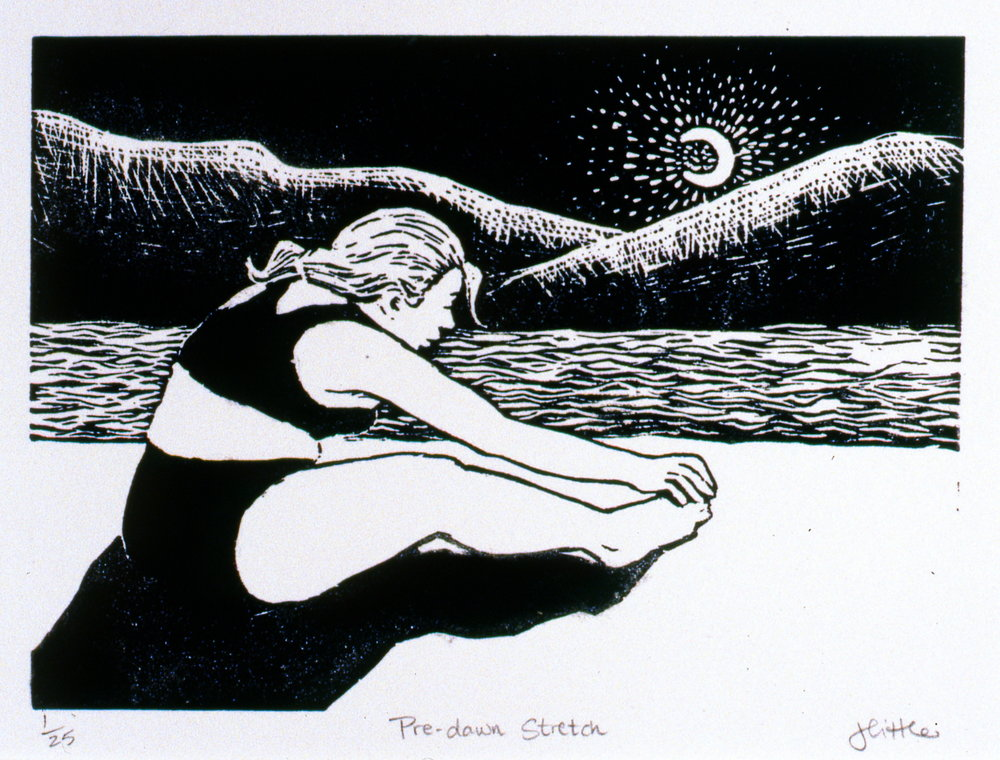 Pre Dawn Sketch,  The Spirit of Ironman Linocut Prints, edition 1/25, 1999, Jan Little, linocut print, 12.5 x 17.7 cm, 1999.02.05, gift of the artist