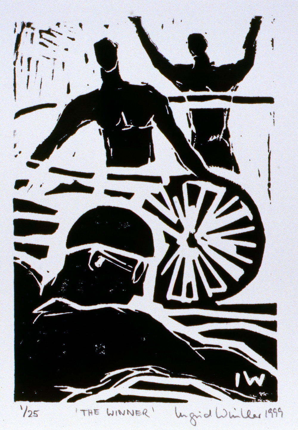 The Winner,  1999, Ingrid Winkler, linocut print, 17.7 x 12.5 cm, 1999.02.07, The Spirit of Ironman Linocut Prints, edition 1/25, gift of the artist