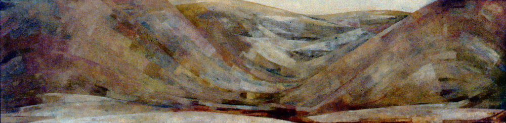 Yakima Hills , c. 1973, Percival M. Ritchie, oil painting, 60 cm x 244 cm, 1999.03.03, gift of the Estate of June Brock