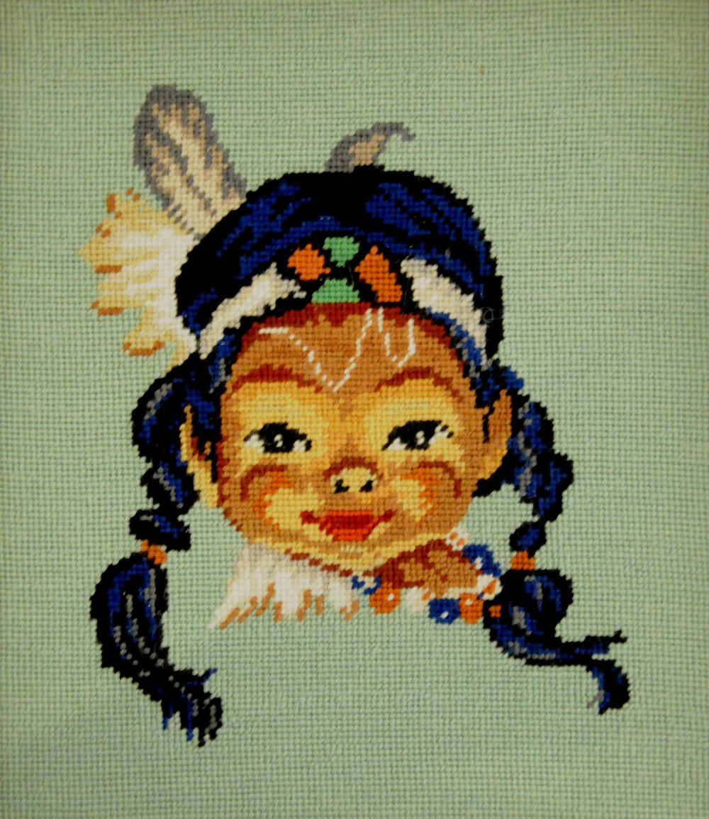 Little Sioux , c. 1970s, artist unknown, needlepoint based on mass-produced pattern