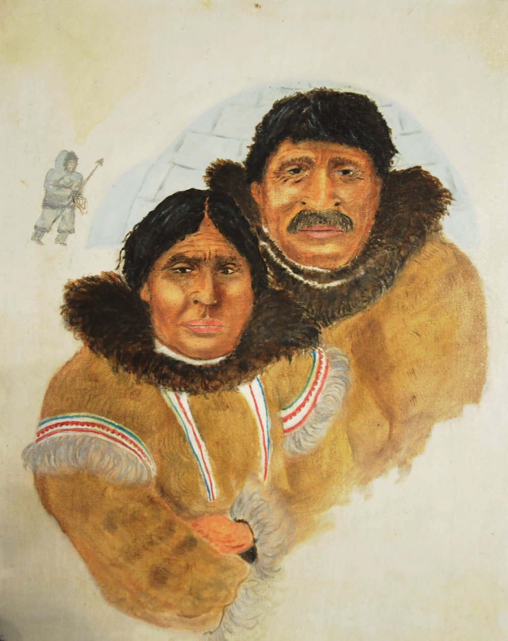 "Untitled (Inuit Couple), c. 1970s, artist unknown, pencil and oil paint on canvas board, 16"" x 20"""