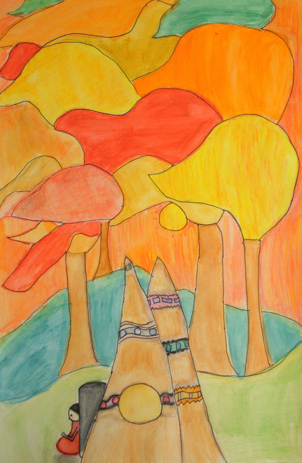After Daphne Odjig , 2017, Phoenix Baptiste, watercolour pencil
