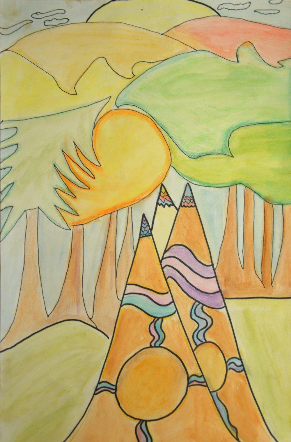 After Daphne Odjig , 2017, Winter Kruger, watercolour pencil