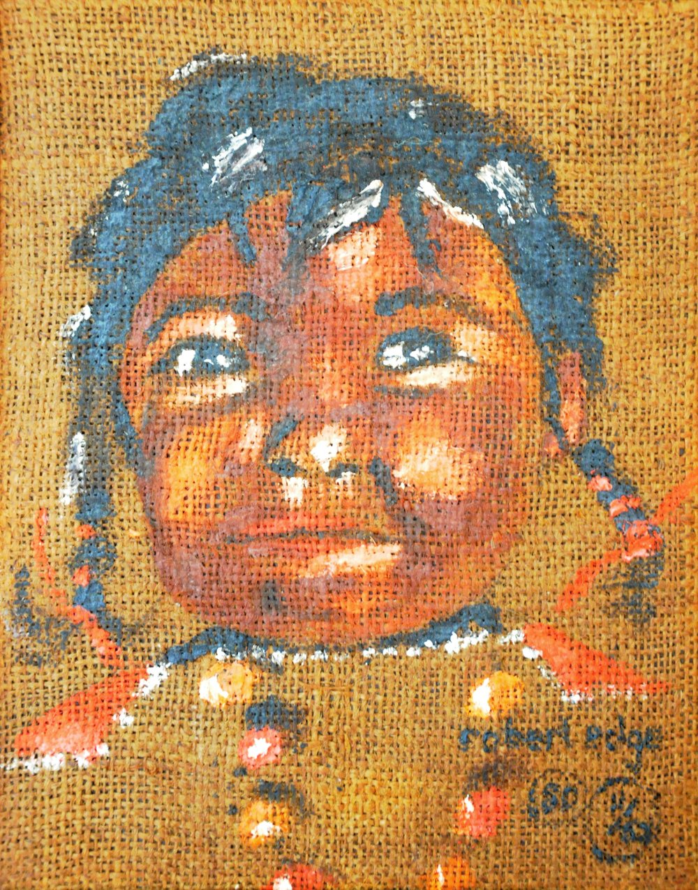 Untitled (Portrait of Child), 1980 (?), Robert Edge, acrylic on burlap