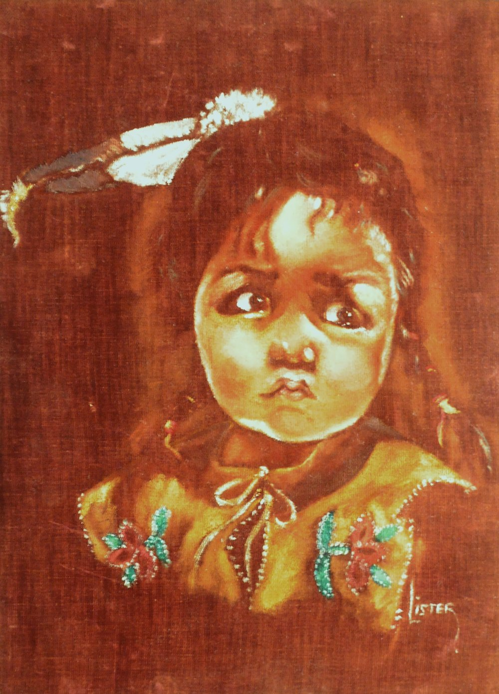 Untitled (Portrait of Child), c. 1960s, signed Lister, acrylic on velvet