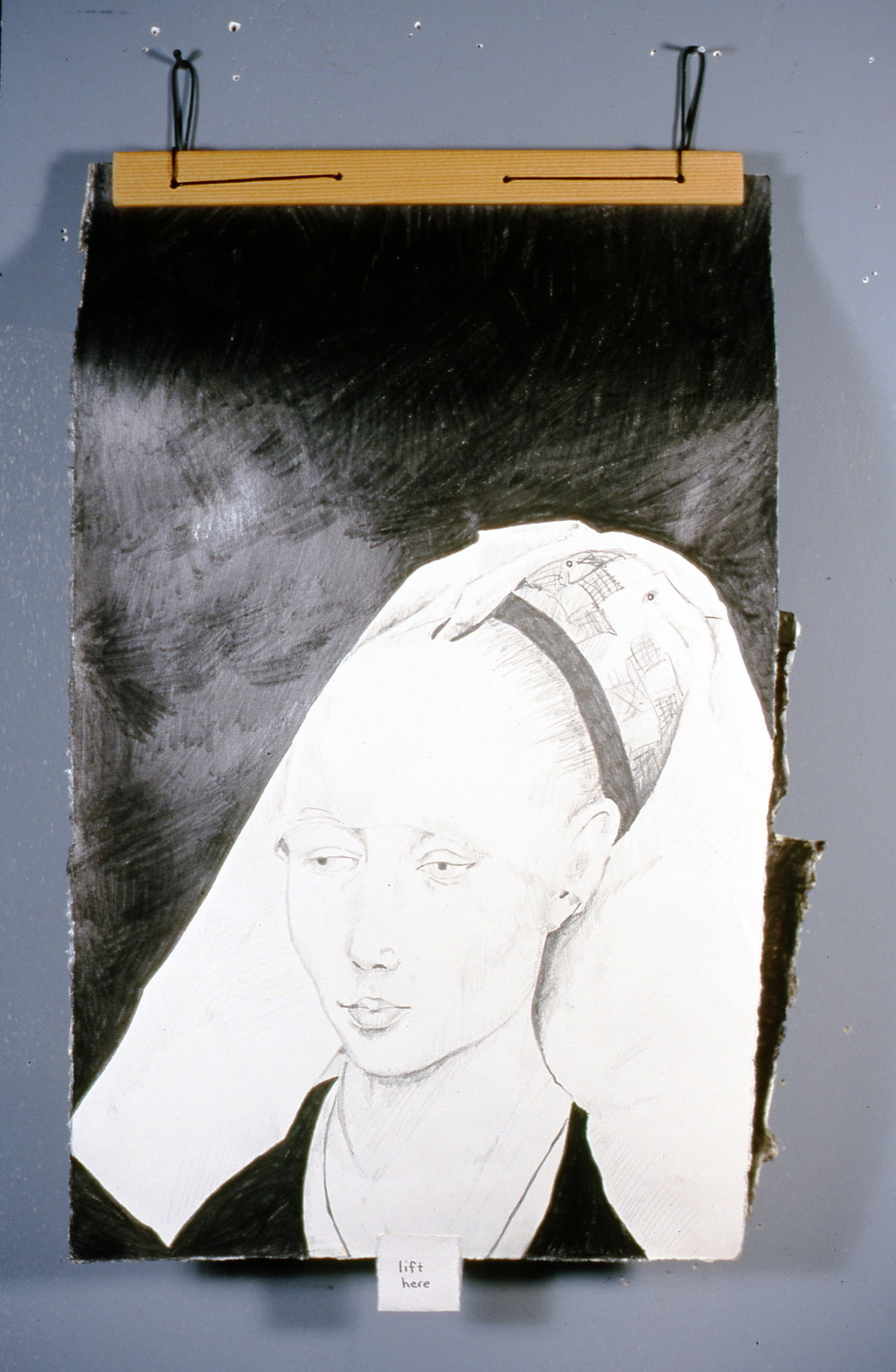 "Woman with Headdress 2, 2000, Richard Motchman, mixed media/ drawing, 17"" x 8"", 2000.02.01, gift of the artist"