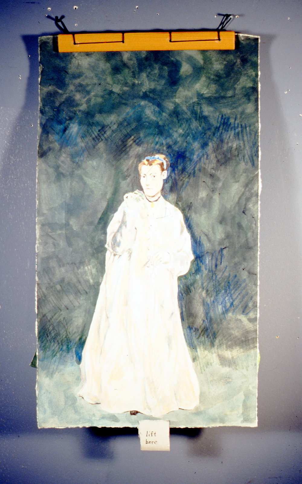 "Woman with a Flower, 2000, Richard Motchman, mixed media on paper, 17"" x 9 1/4"", 2000.02.02, gift of the artist"