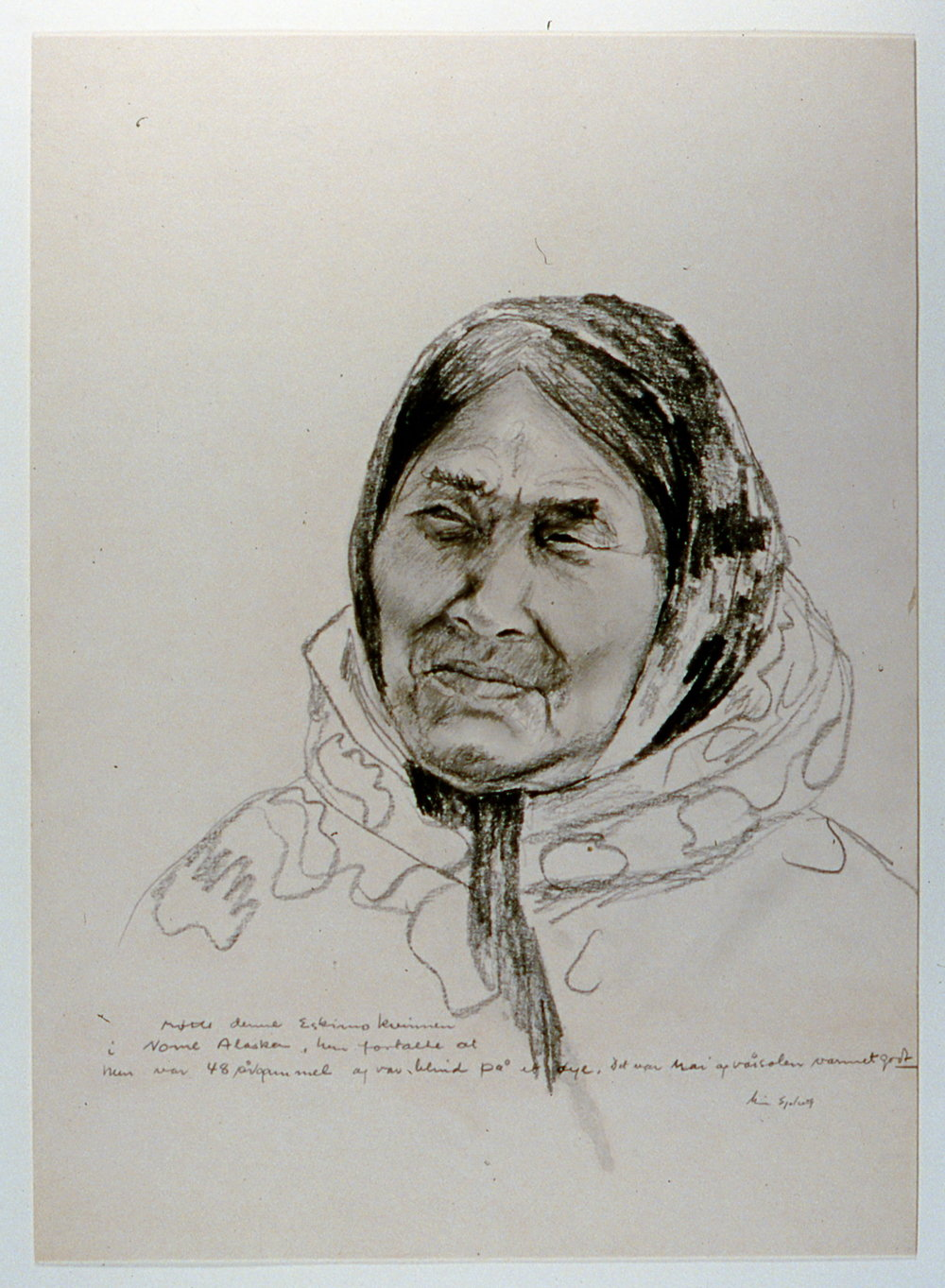 "Blind Eskimo Woman , 1982, Minn Sjølseth, graphite on paper, 16 1/2"" x 12 1/2"", 2000.04.02, gift of Al and Laila Campbell"