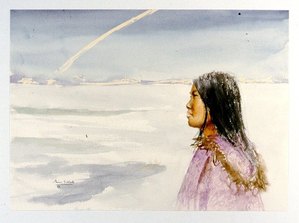 "Contrail,  1982, Minn Sjølseth, watercolour, 9 1/2"" x 13 1/2"", 2000.04.04, gift of Al and Laila Campbell"