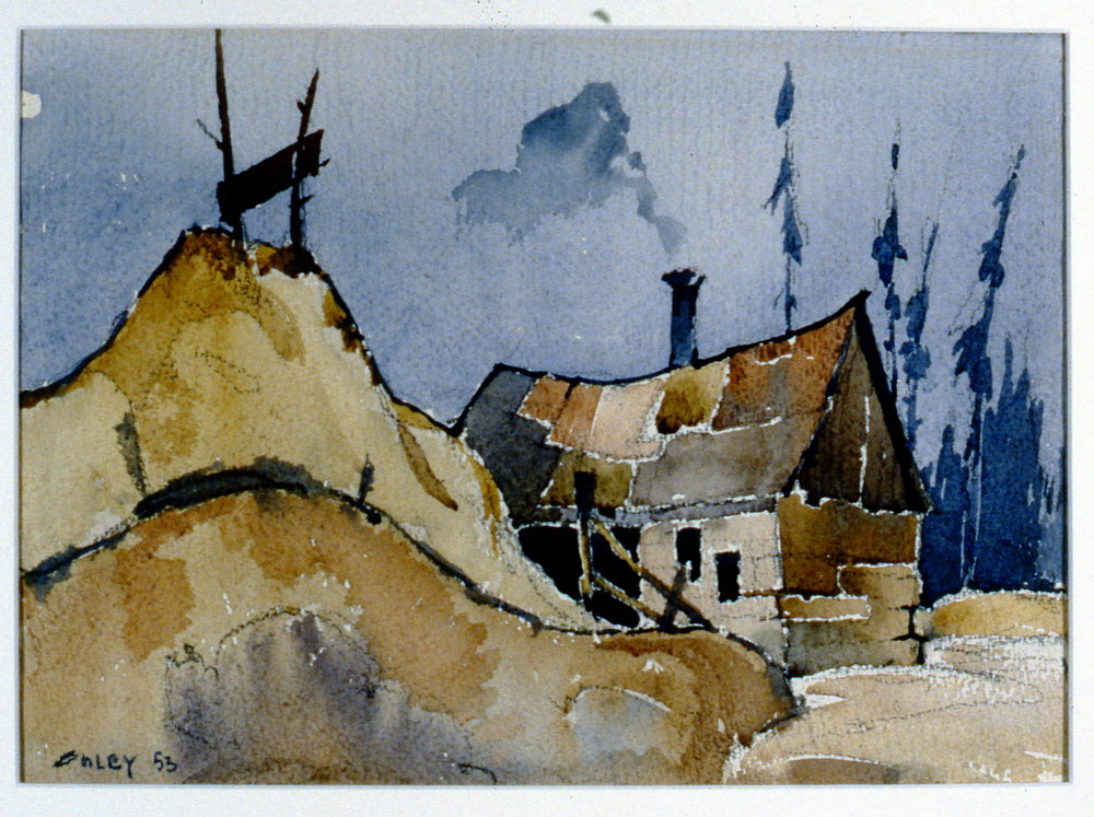 Cabin, Ontario - Sawmill Near Cainsville,  1953, Toni Onley, watercolour, 26 cm x 36.3 cm, 2001.04.04. Gift of the Estate of Ethel & Maurice Joslin.