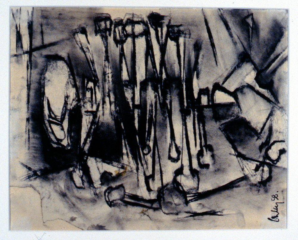 Skeleton #1 , 1958, Toni Onley, charcoal on paper, 30.5 cm x 24.2 cm, 2001.04.06. Gift of the Estate of Ethel & Maurice Joslin.