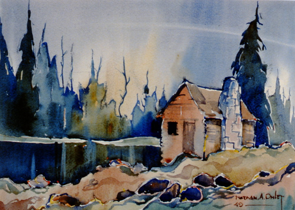 Near Galt  , Ontario ,  Canada,  1949, Toni Onley, watercolour on paper, 29 cm x 40 cm, 2002.07.03. Gift of Katherine Lytle.