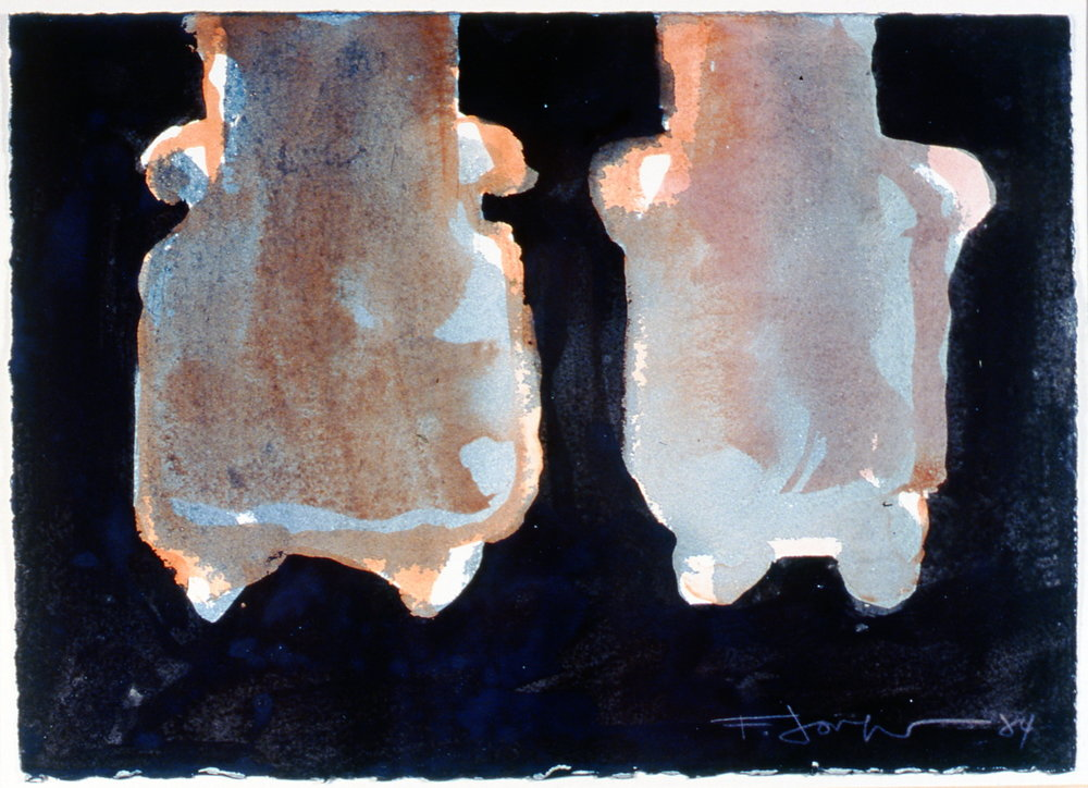 "Still Life, Black & White (Vases with Feet), 1984, watercolour and ink on paper, 15"" x 12"", 2003.06.04, gift of Mrs. Rosita Tovell"