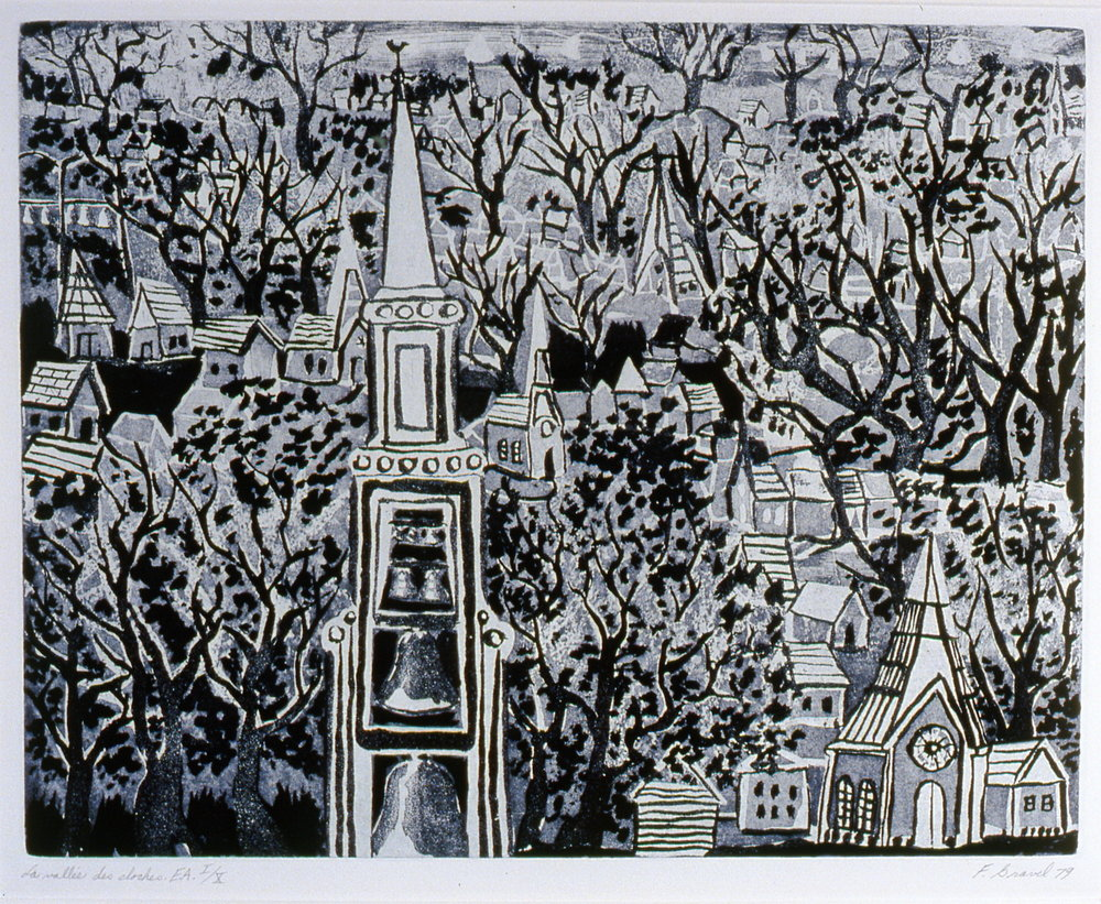 "La Vallée des Cloches , 1979, Francine Gravel, aquatint E.A. I/X, 13 3/4"" x 17 1/2"", 2004.01.01, gift of the artist"