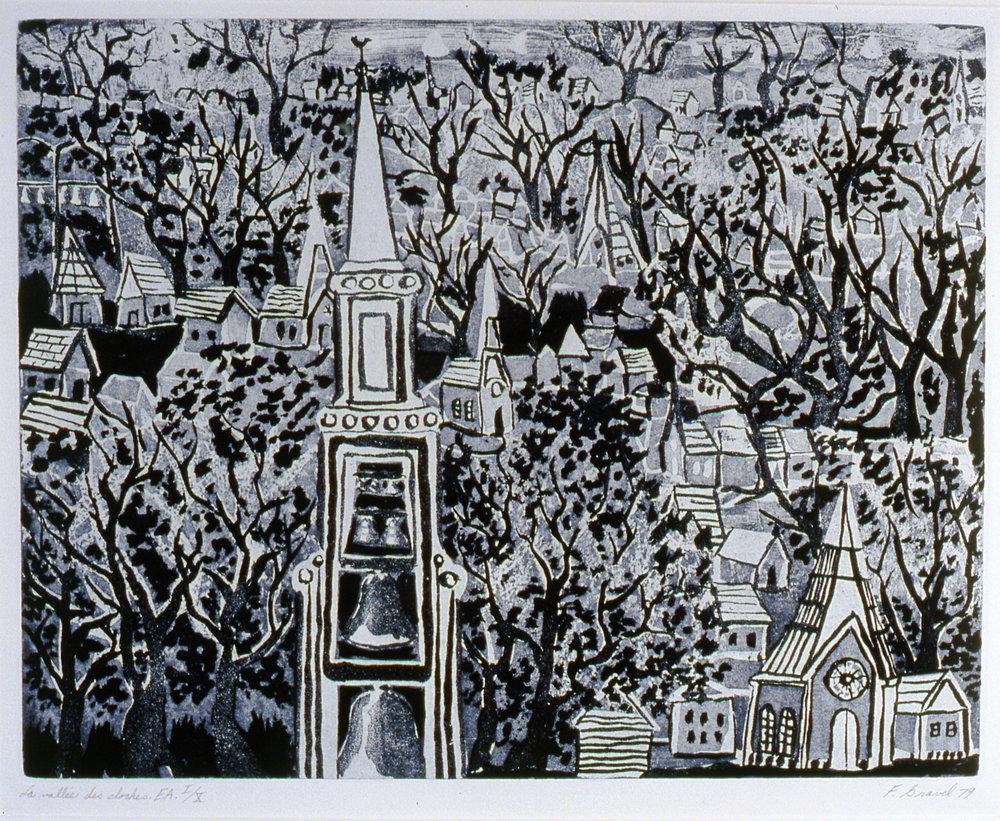 """La Vallée des Cloches , 1979, Francine Gravel, aquatint E.A. I/X, 13 3/4"""" x 17 1/2"""", 2004.01.01, gift of the artist"""