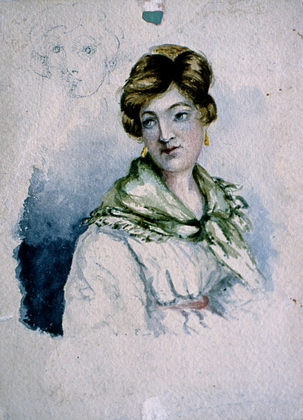 "Untitled Sketch (front - portrait of woman), n.d., Julia Bullock Webster, watercolour on paper, 8""  x 6"", 2003.02.33, gift of The Grist Mill at Keremeos"