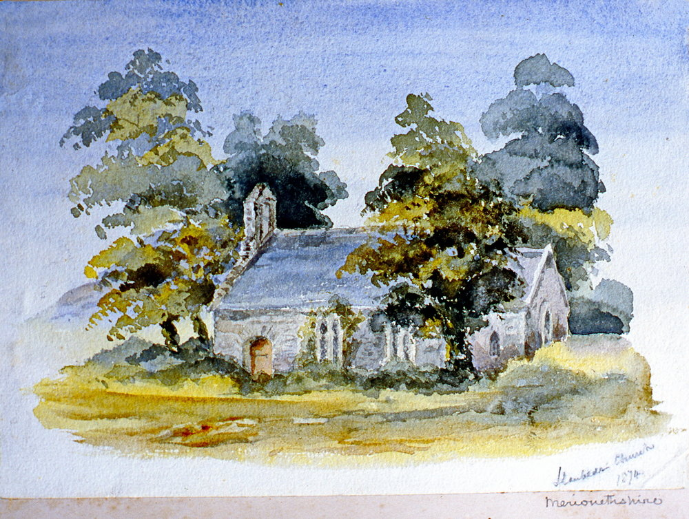 "Hambed's Church , 1874, Julia Bullock Webster, watercolour on paper, 7""  x 10"", 2003.02.35, gift of The Grist Mill at Keremeos"