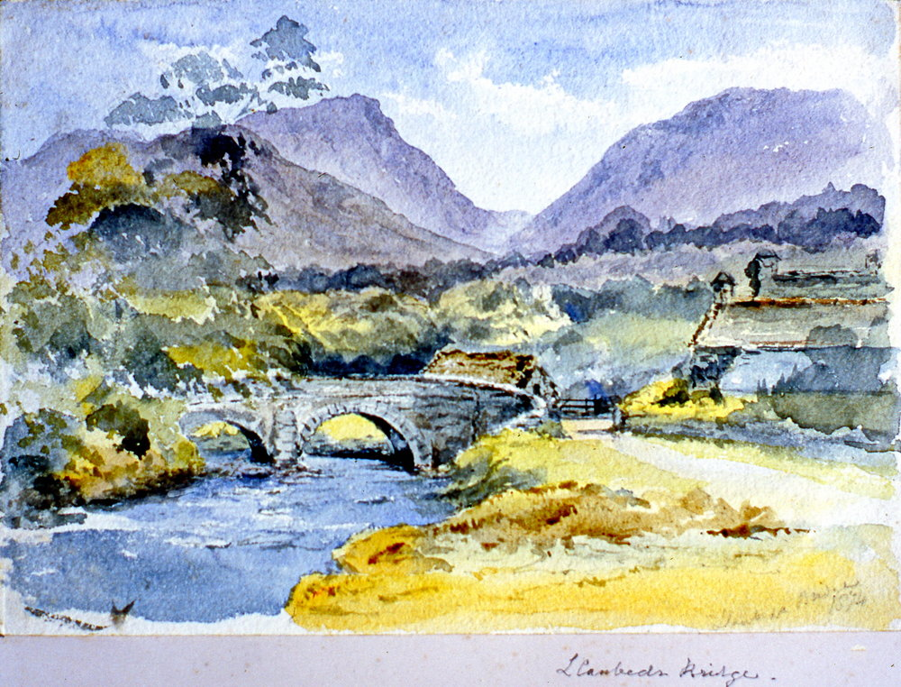 "L Cambed's Bridge , 1874, Julia Bullock Webster, watercolour on paper, 7"" x 10"", 2003.02.36, gift of The Grist Mill at Keremeos"